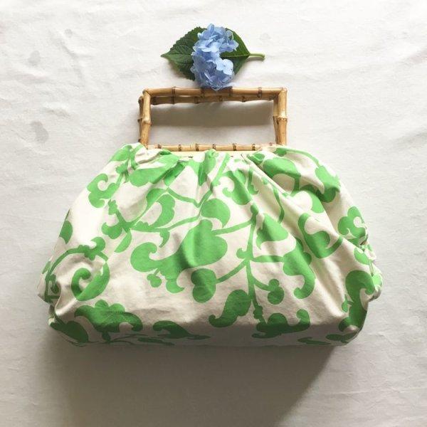 画像1: 洋からくさ 緑  100cm 綿 (arabesque green cotton) (1)